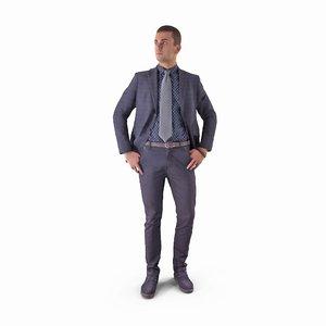 3D businessman listen human body model