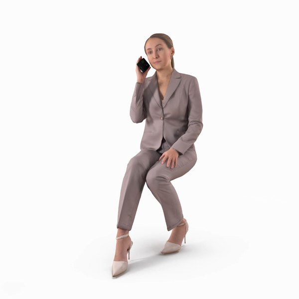 business woman phone human body 3D model