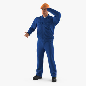 3D construction worker wearing blue