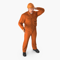 3D builder wearing orange coveralls