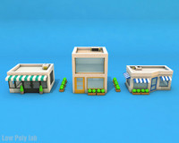 Cartoon City Buildings Low Poly 3D