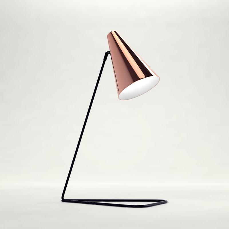 3D bloomingville table lamp copper