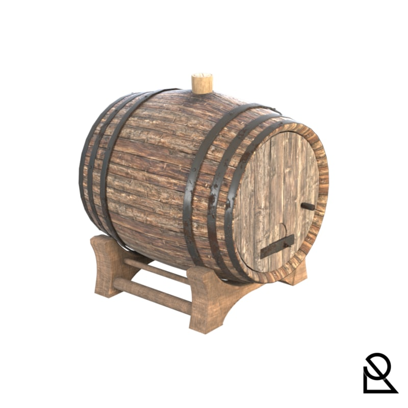 realistic wooden barrel model