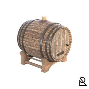 realistic wooden barrel model