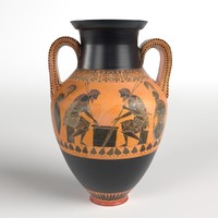 3D handled ancient greek jar