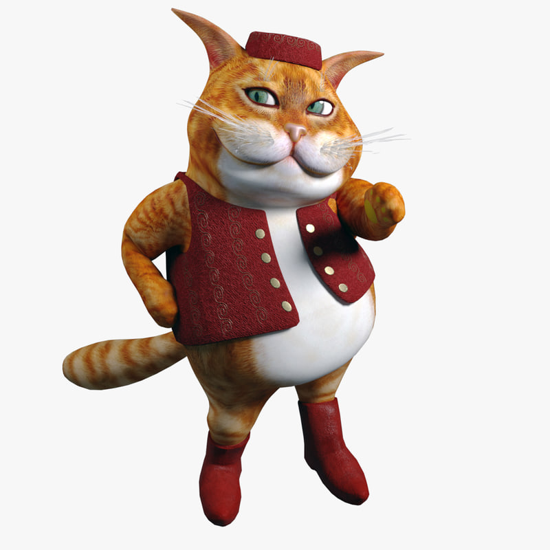 3D cartoon fat cat model