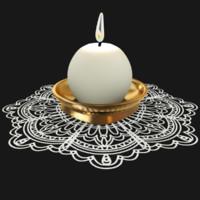 3D candlestick napkin candles