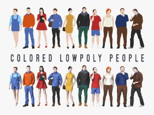 3D model colored people characters