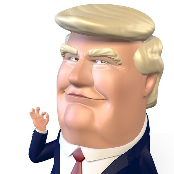 rigged donald trump puppet 3D model