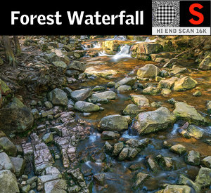 forest waterfall 16k 3D