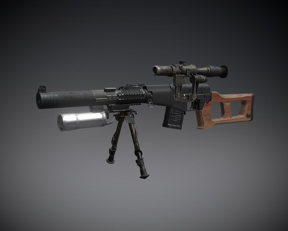 3D model vss vintorez sniper rifle