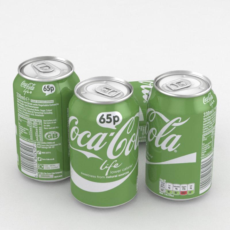 beverage coca-cola life 330ml 3D