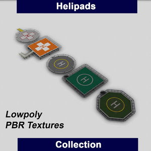 helipads helicopter hospital 3D model