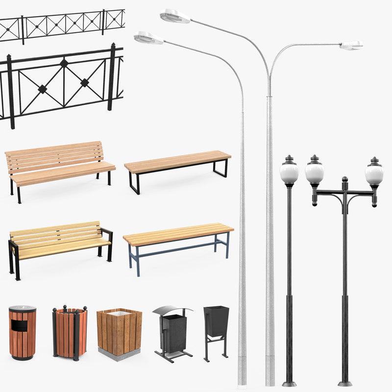 3D set filling territory street light