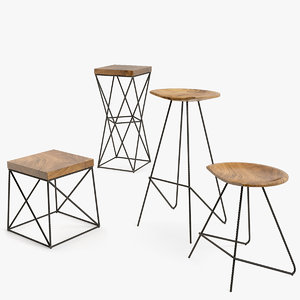 iron chair set 3D model