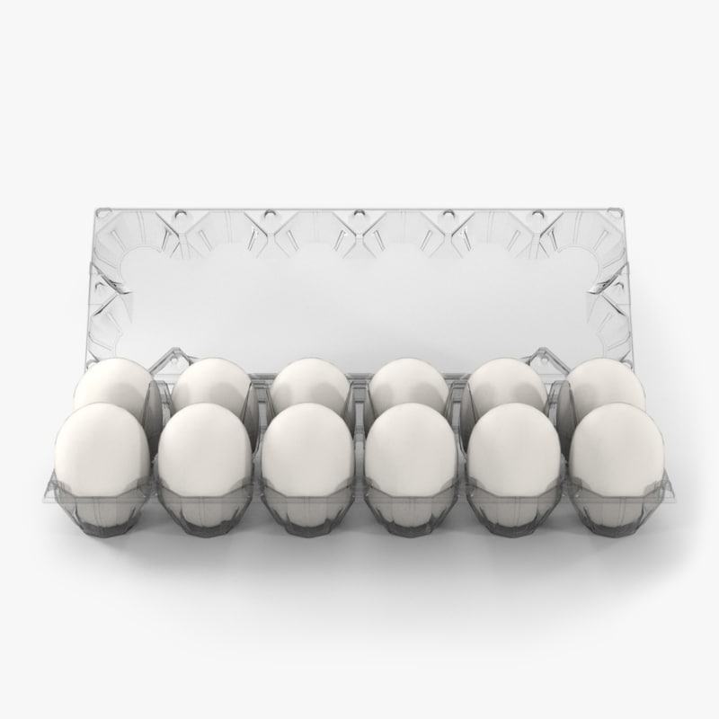 clear plastic dozen egg 3D model