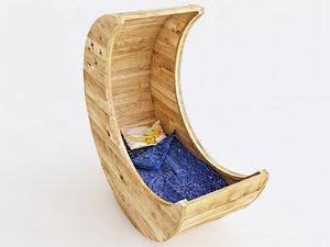 3D wooden cot moon