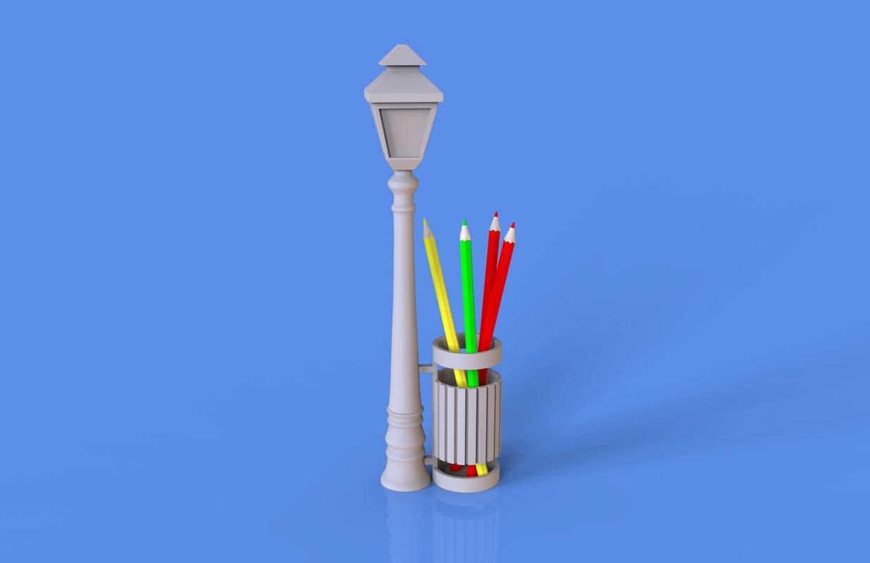 street lamp bin pencil model