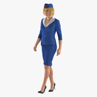 3D stewardess walking pose