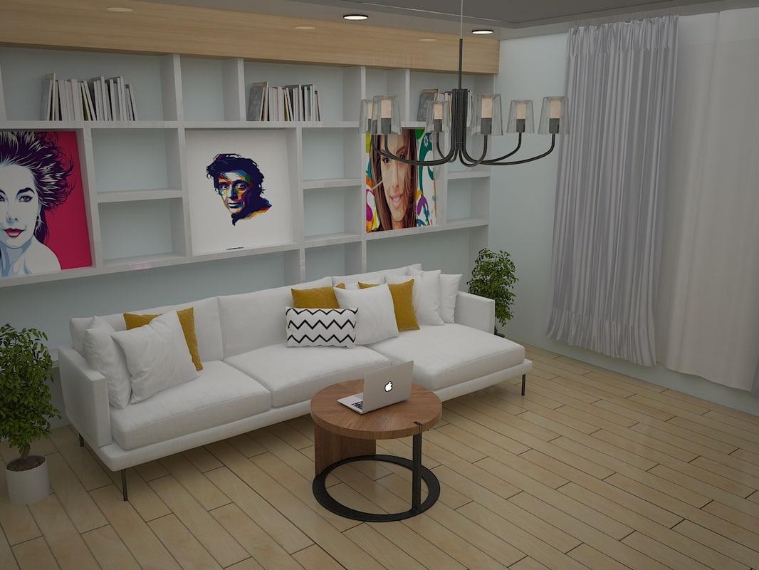 3D interior style hi-tech model