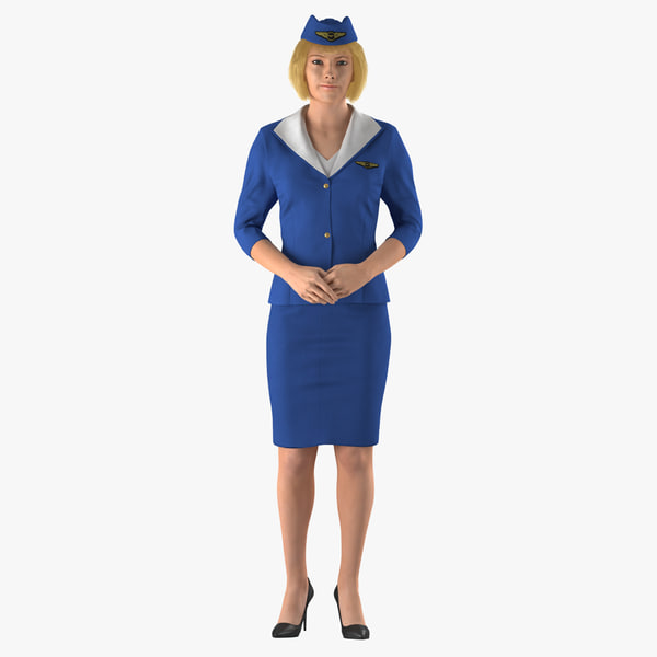 stewardess standing pose 3D
