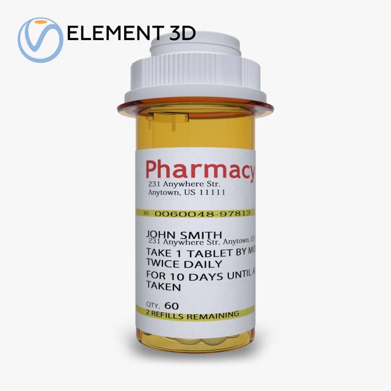 3D prescription pill bottle model