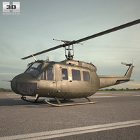 3D model bell uh-1 uh