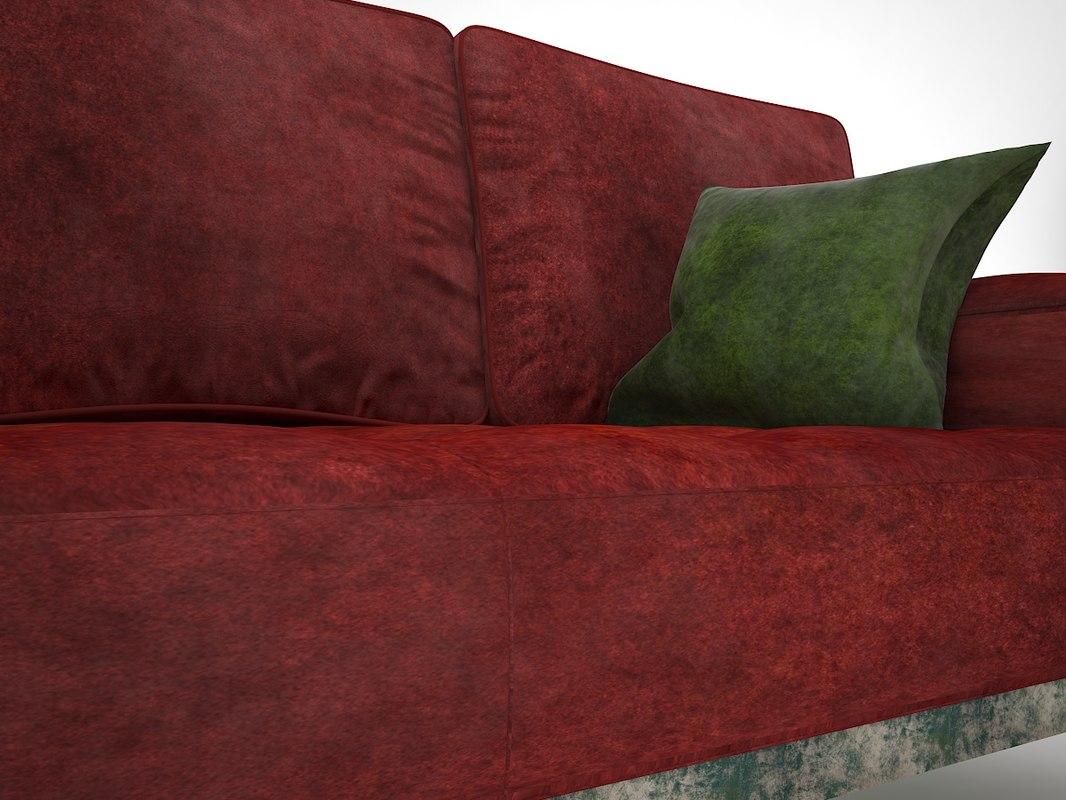3D red velvet sofa model