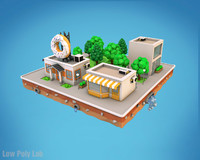 city block cafe buildings 3D model