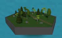 3D forest scene trees bushes
