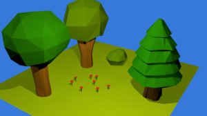 3D model trees bush