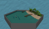 tropical beach trees bushes 3D model