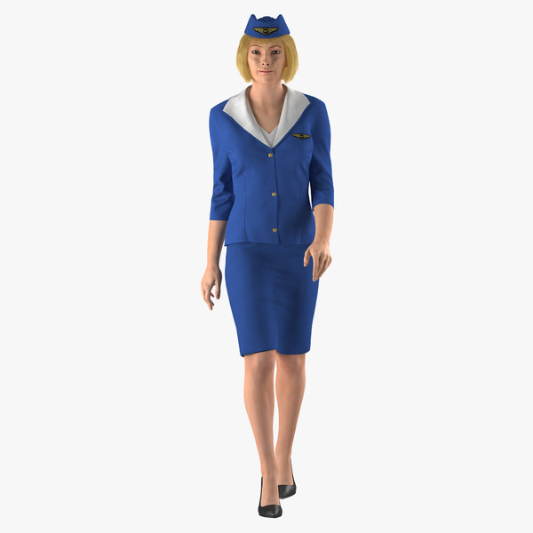 stewardess rigged modeled 3D