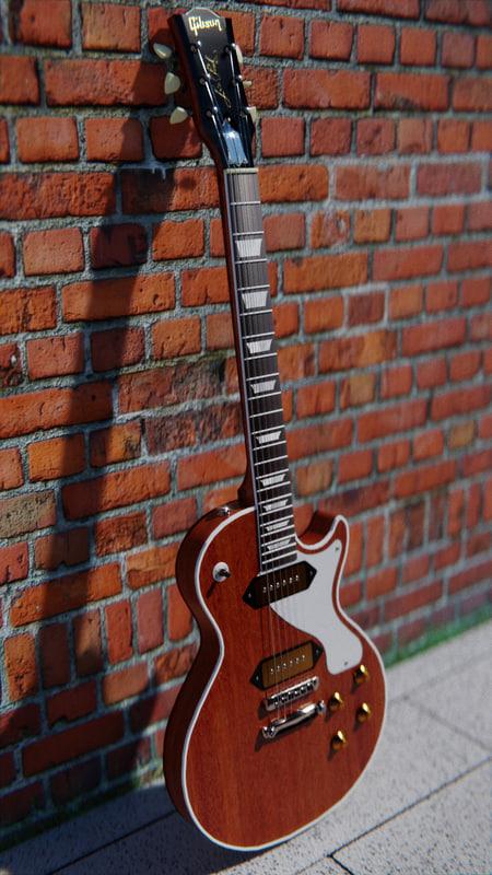 3D model low-poly les paul guitar