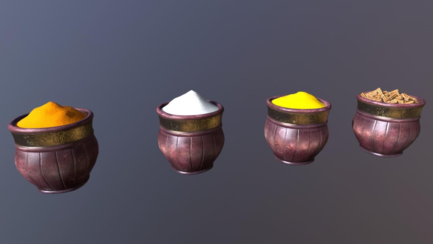 3D spice pots bazaar