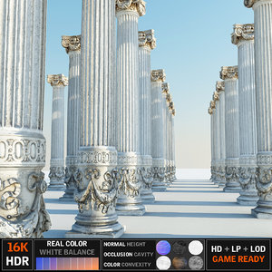 3D model ancient pillar ready
