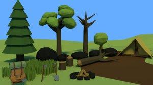 assets forrest tree 3D model