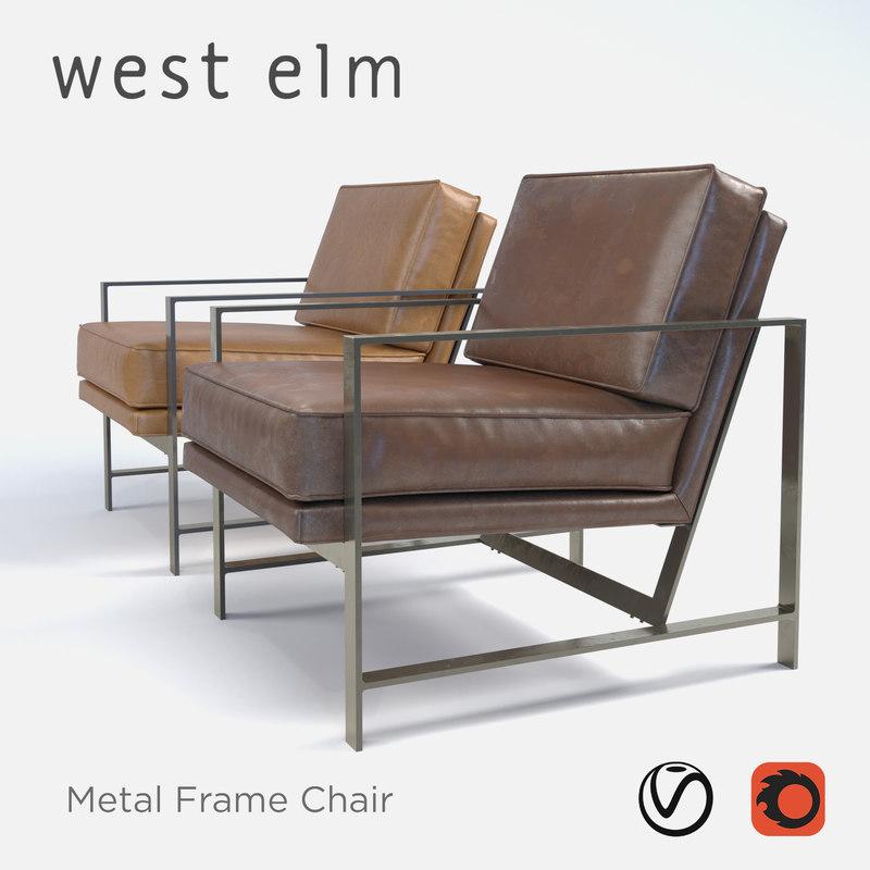 west elm metal frame 3D model
