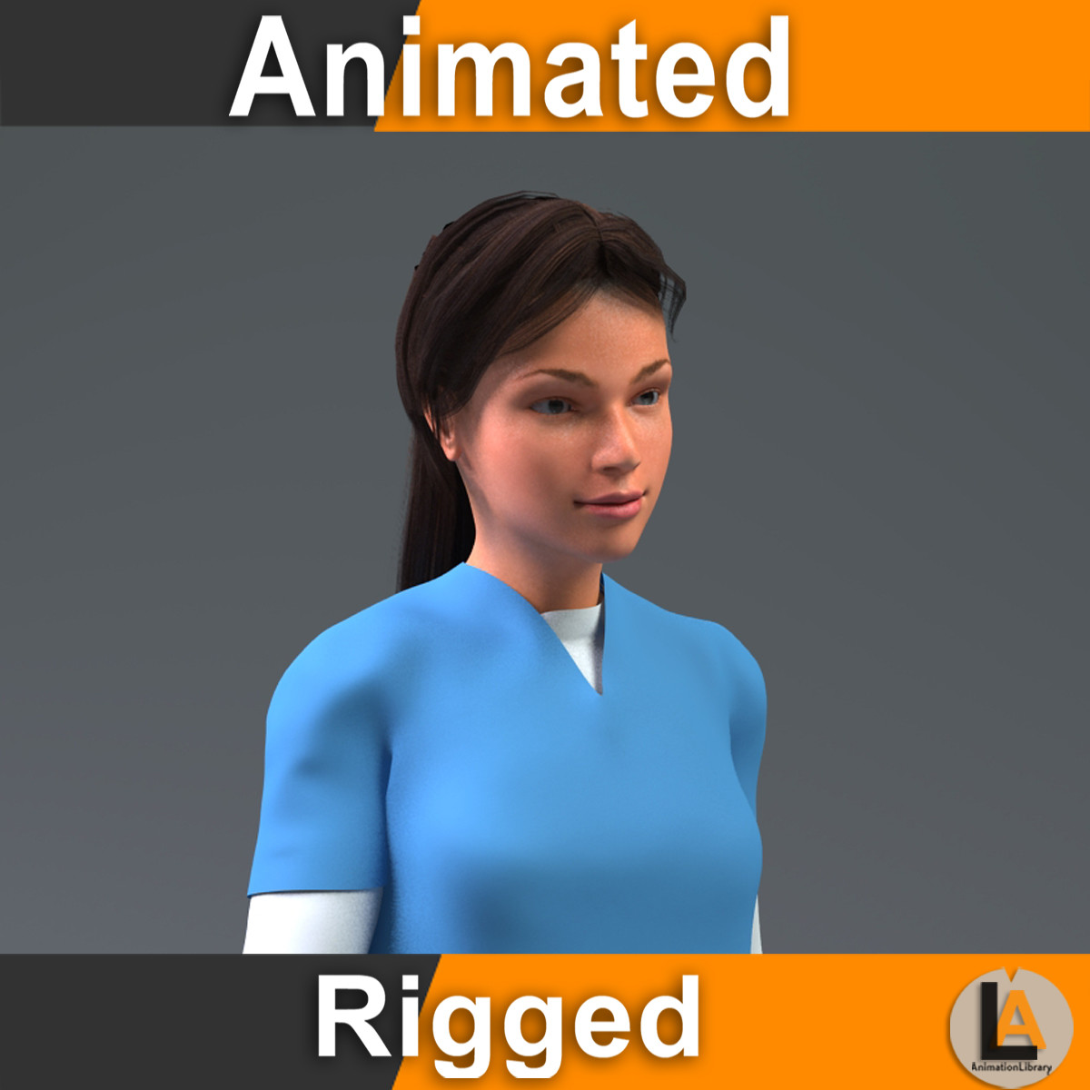 nurse woman rigged 3D model