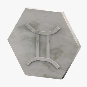 3D marble gemini model