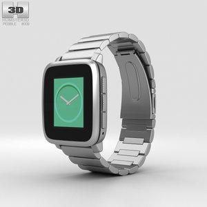3D model pebble time steel