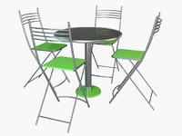 3D canteen chair set table model