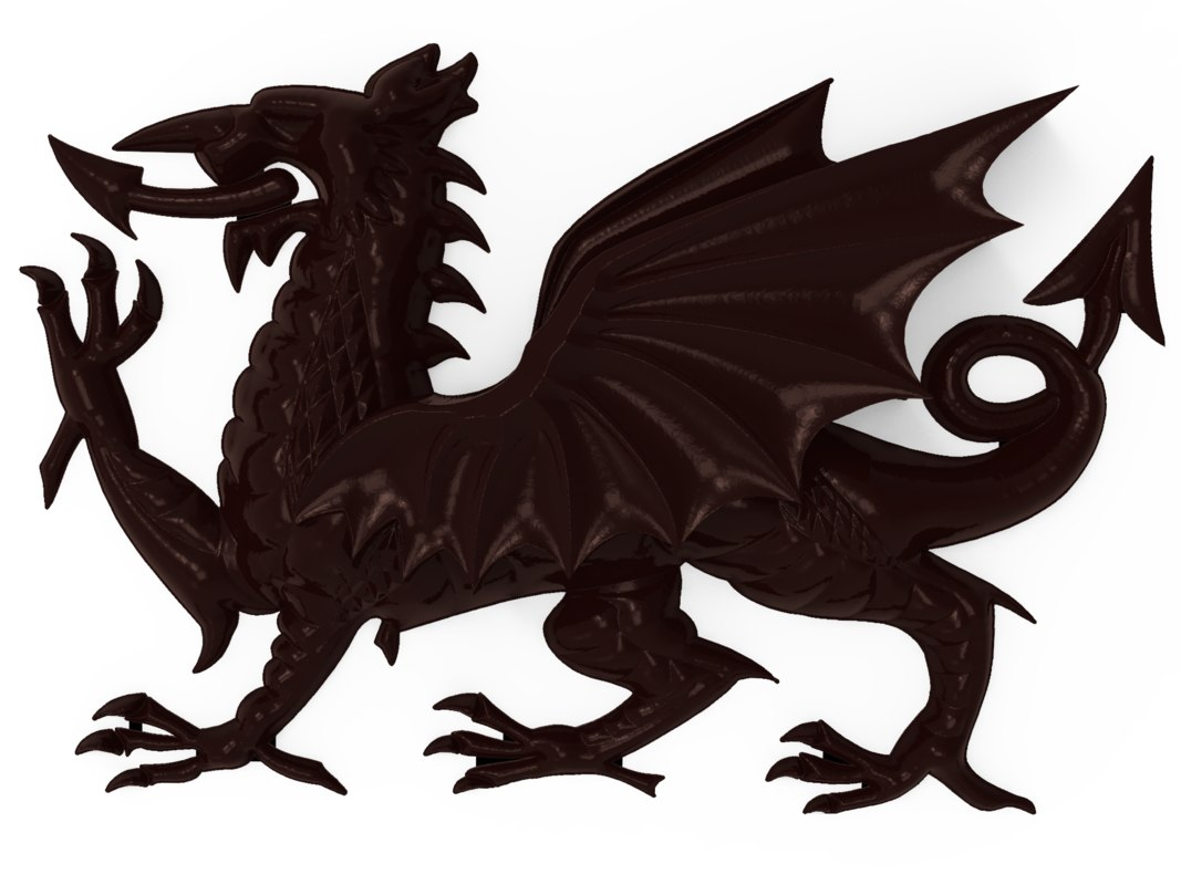 bas relief welsh dragon model