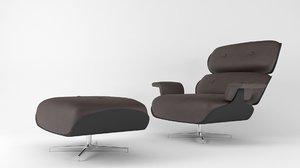 lounge chair ottoman 3D