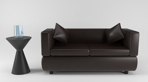 3D model two-seater sofa
