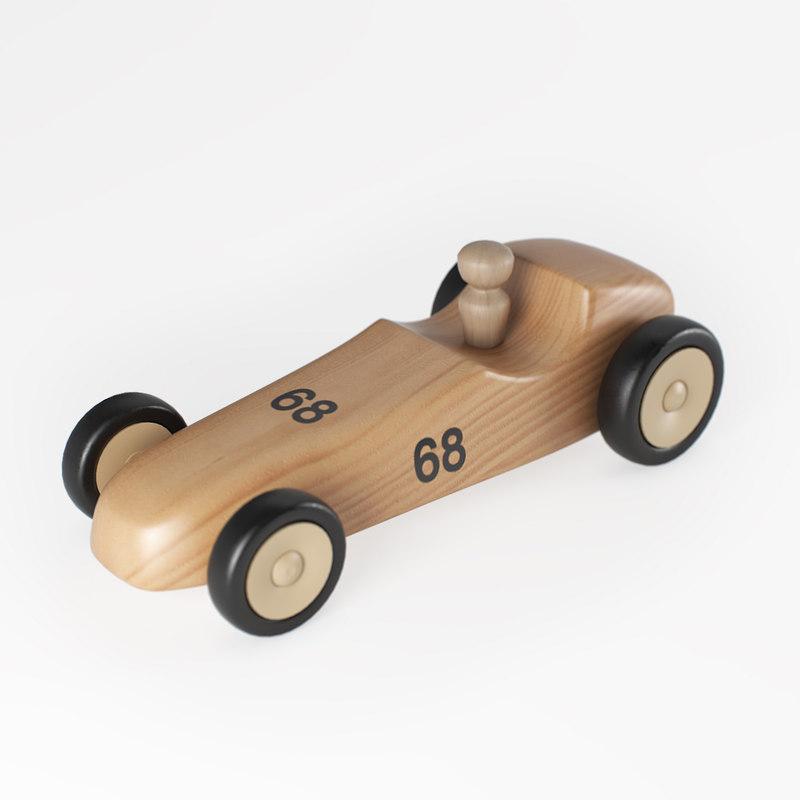 3D wooden toy race car