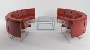 waiting lounge seats 3D