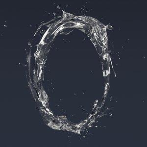 3D letter o splash