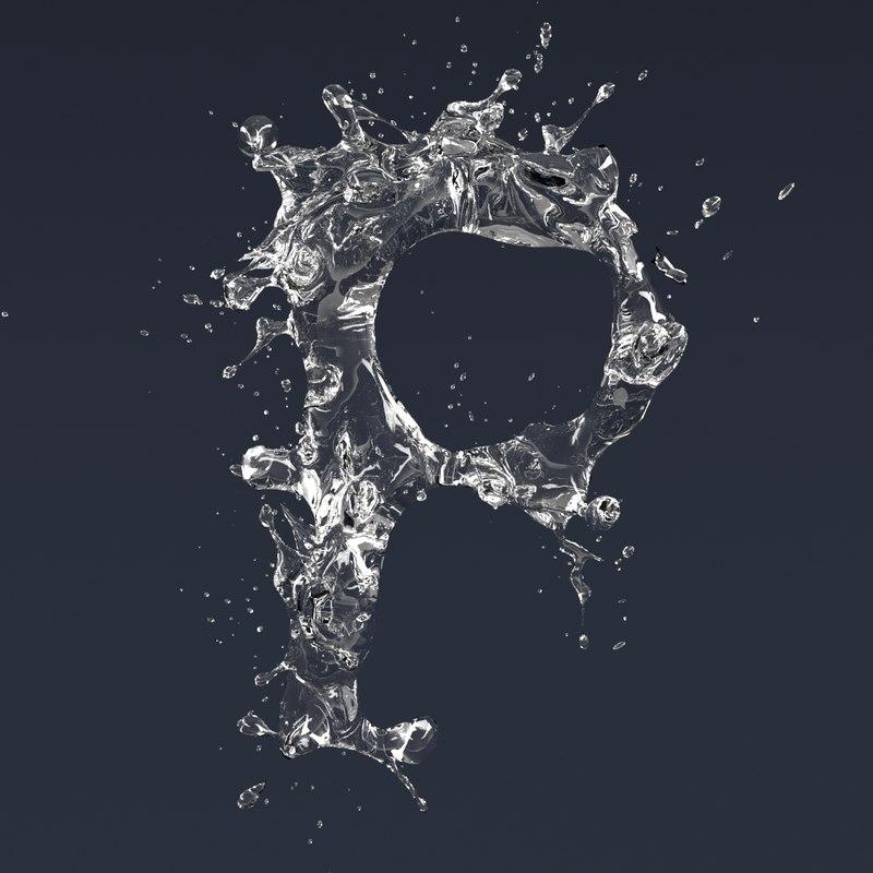 letter p splash 3D model