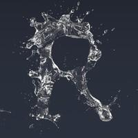3D letter r splash